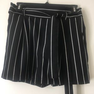 small black and white paper bag shorts